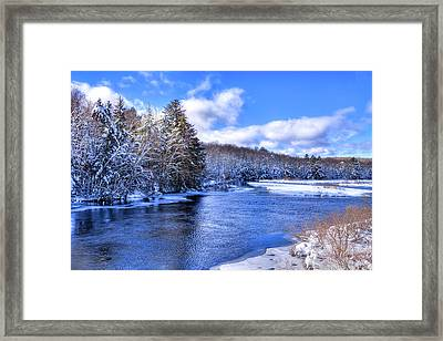 Framed Print featuring the photograph Snowy Banks Of The Moose River by David Patterson