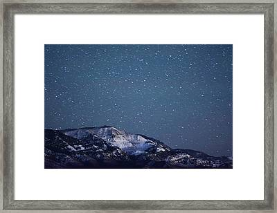 Snowy Mountain At Night Framed Print by Harpazo hope