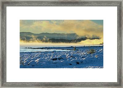 Snowy Shoreline Sunrise Framed Print