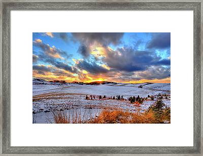 Framed Print featuring the photograph Snowy Sunset by David Patterson
