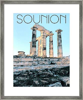Sounion, In Love With The Med Framed Print