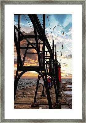 Framed Print featuring the photograph South Haven Pier Sunset by Lars Lentz