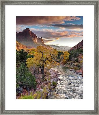 Framed Print featuring the photograph Southwest Light Along The Virgin River by Leland D Howard