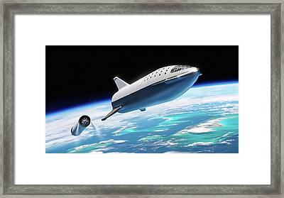 Framed Print featuring the digital art Spacex Bfr Big Falcon Rocket With Earth by Pic by SpaceX Edit by M Hauser