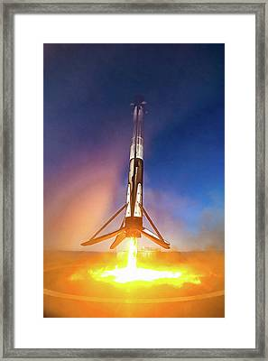 Framed Print featuring the photograph Spacex Falcon 9 Precision Booster Landing by Matthias Hauser