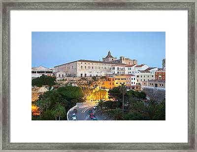 Spain, Menorca, Mahon, View Of Old Town Framed Print by Westend61