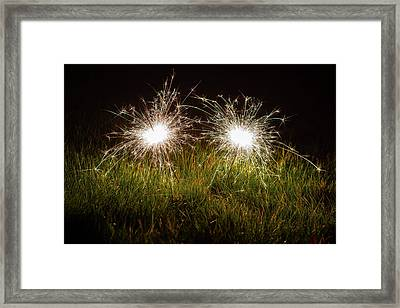 Framed Print featuring the photograph Sparklers In The Grass by Scott Lyons