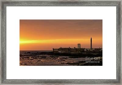 Framed Print featuring the photograph Spectacular Sunset On Saint Sebastian Castle Cadiz Spain by Pablo Avanzini