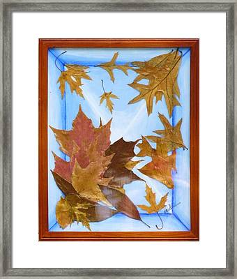 Framed Print featuring the mixed media Splattered Leaves by Elly Potamianos