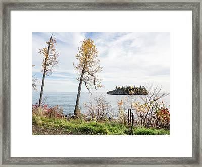 Framed Print featuring the photograph Split Rock In The Fall by Whitney Leigh Carlson