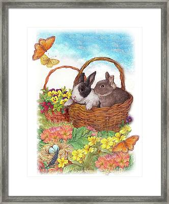 Spring Garden With Bunnies, Butterfly Framed Print