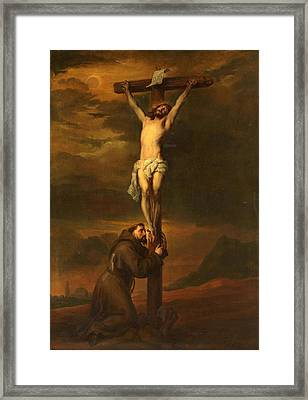 St Francis At The Foot Of The Cross Framed Print