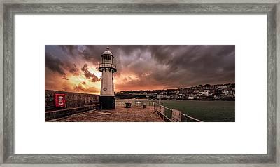 St Ives Cornwall - Lighthouse Sunset Framed Print