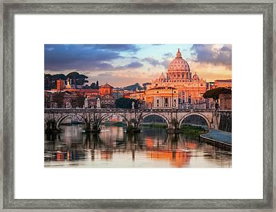 St Peters Basilica, St Angelo Bridge Framed Print by Joe Daniel Price