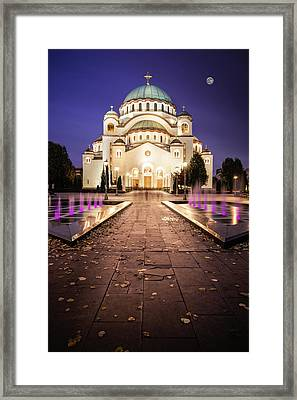 St. Sava Temple In Belgrade Nightscape Framed Print