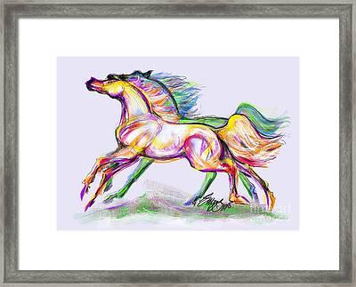 Crayon Bright Horses Framed Print