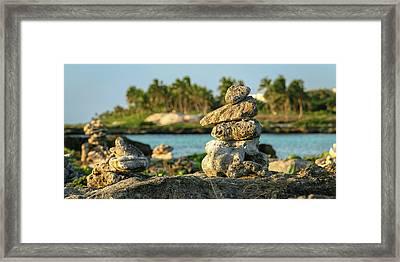 Stacked Rocks On Mexico Beach Framed Print