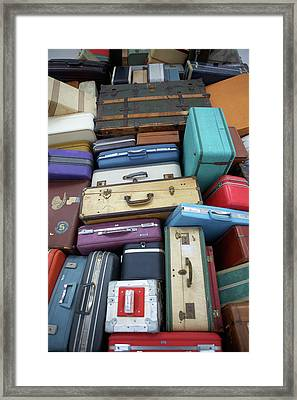 Stacked Suitcases Framed Print