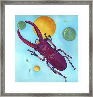 Stag Beetle In Space Framed Print