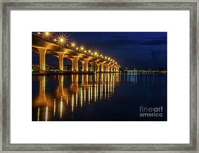 Starburst Bridge Reflection Framed Print