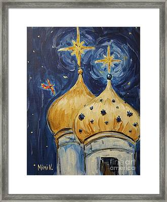 Framed Print featuring the painting Stars Near And Far by Maria Langgle