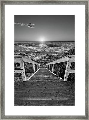 Steps To The Sun  Black And White Framed Print