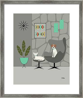 Framed Print featuring the digital art Stone Wall With Dog And Cat by Donna Mibus