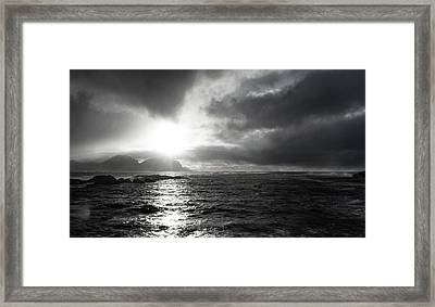 stormy coastline in northern Norway Framed Print