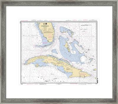 Straits Of Florida Nautical Chart Framed Print