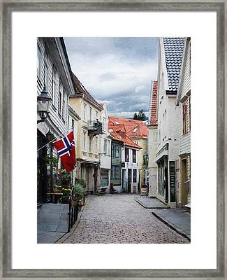 Street In Bergen, Norway Framed Print