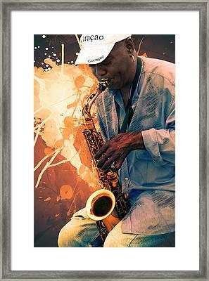 Street Sax Player Framed Print