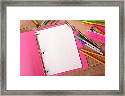 Students Desk With Notebook Binder And Framed Print by Hatman12