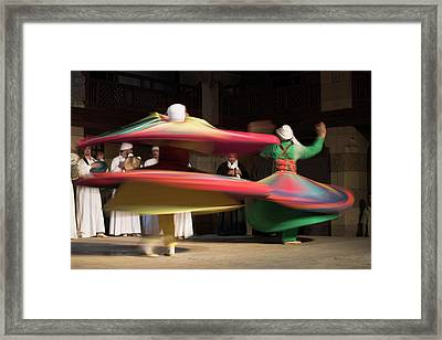 Sufi Dancers At A Traditional Show In Framed Print by David Clapp