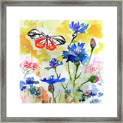 Framed Print featuring the painting Summer Butterfly In Cornflowers by Ginette Callaway