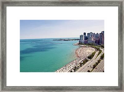 Summer In An Urban Beach Framed Print by By Ken Ilio