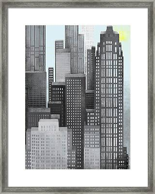 Sun And Skyscrapers Framed Print