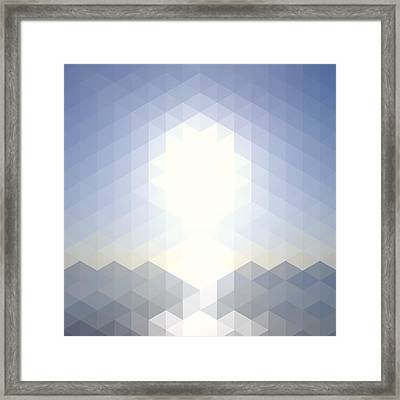 Sun Over The Sea - Abstract Geometric Framed Print by Bgblue