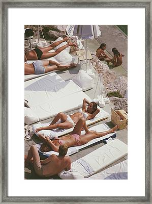 Sunbathers At Eden Roc Framed Print
