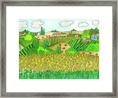 Sunflower French Countryside Framed Print