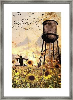 Sunflowers At Dusk Framed Print