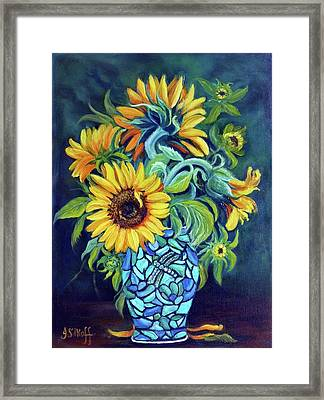 Sunflowers In An Art Deco Vase Framed Print by Janet Silkoff