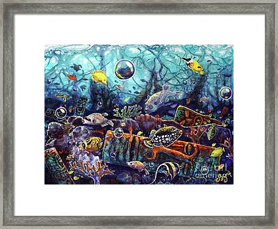 Sunken Tiki Reef Framed Print