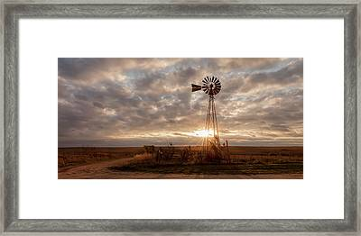 Framed Print featuring the photograph Sunrise And Windmill by Scott Bean