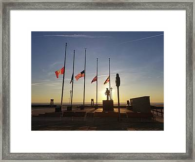 Framed Print featuring the photograph Sunrise At Firefighter Memorial by Robert Banach