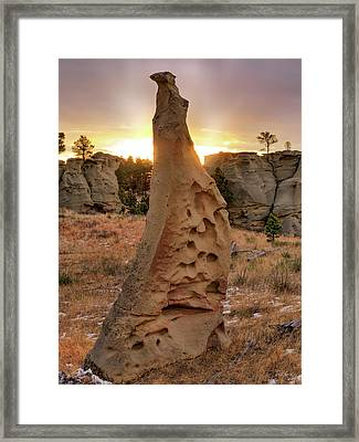 Sunrise At Medicine Rocks Framed Print