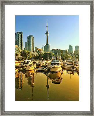 Framed Print featuring the photograph Sunrise At The Harbour by Geraldine Gracia
