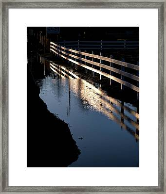 Framed Print featuring the photograph Sunrise Fence And Reflection 2 by Jerry Sodorff
