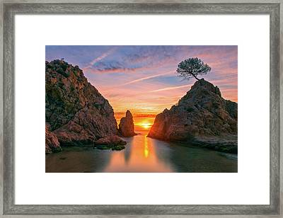 Sunrise In The Village Of Tossa De Mar, Costa Brava Framed Print