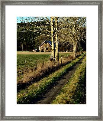 Framed Print featuring the photograph Sunrise On The Barn by Jerry Sodorff
