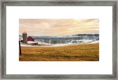 Sunrise On The Farm Framed Print